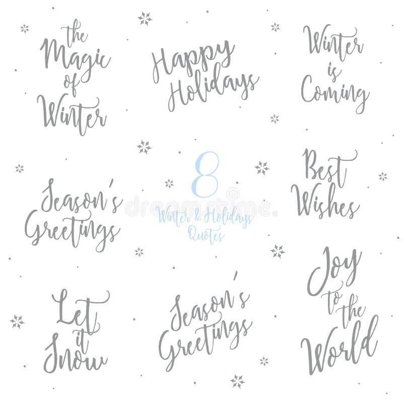 Citazioni di feste e dell'inverno - mandi un sms alla fonte di parola di calligrafia illustrazione vettoriale