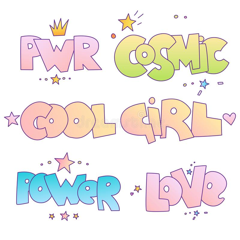 Citazioni motivazionali del fumetto sveglio e segnare per piccola principessa e la cattiva ragazza coraggiosa Potere, ragazza cos illustrazione di stock