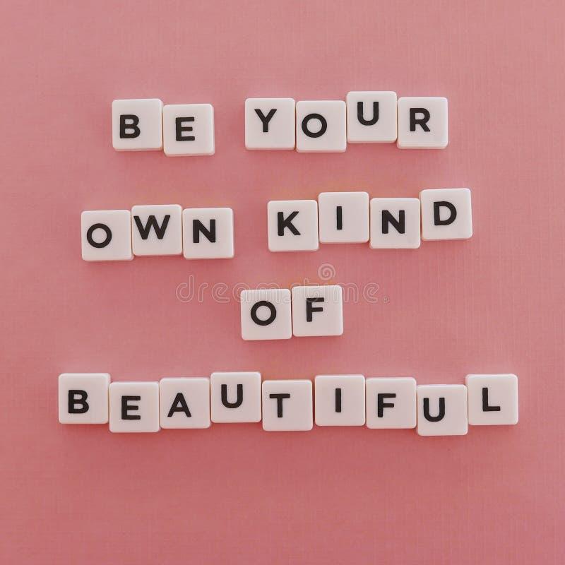 Citazioni ' Sia il vostro proprio genere di Beautiful' su fondo rosa fotografia stock