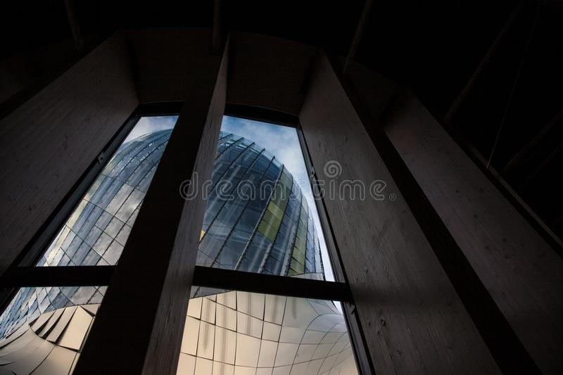 Cite du Vin main tower seen from the inside during a sunny afternoon. Cite du Vin wine city is the wine museum of Bordeaux. Picture of Bordeaux wine museum, cite royalty free stock images