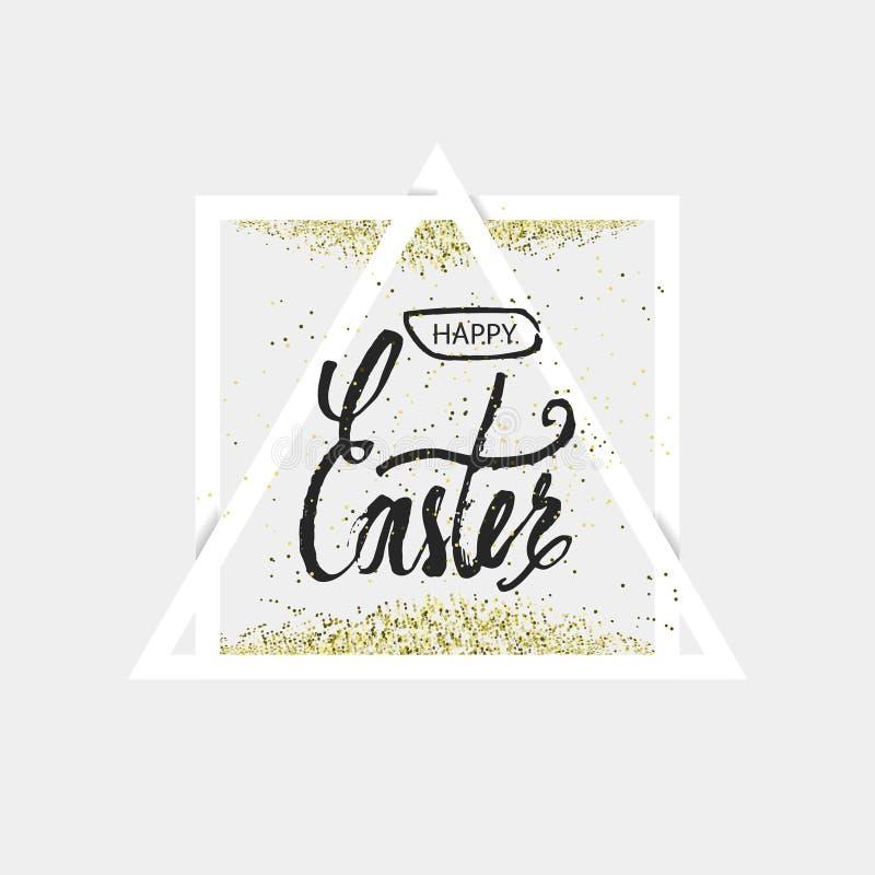 Cite el día feliz de Pascua en un fondo de papel geométrico triangular del diseño del marco Diseño de letras Tarjeta de felicitac libre illustration