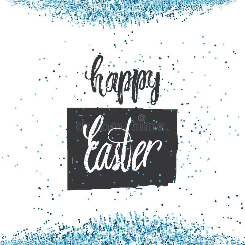 Cite o fundo feliz do projeto do dia da Páscoa com confetes Projeto de rotulação Cartão luxuoso da Páscoa Molde do fundo Vetor ilustração royalty free