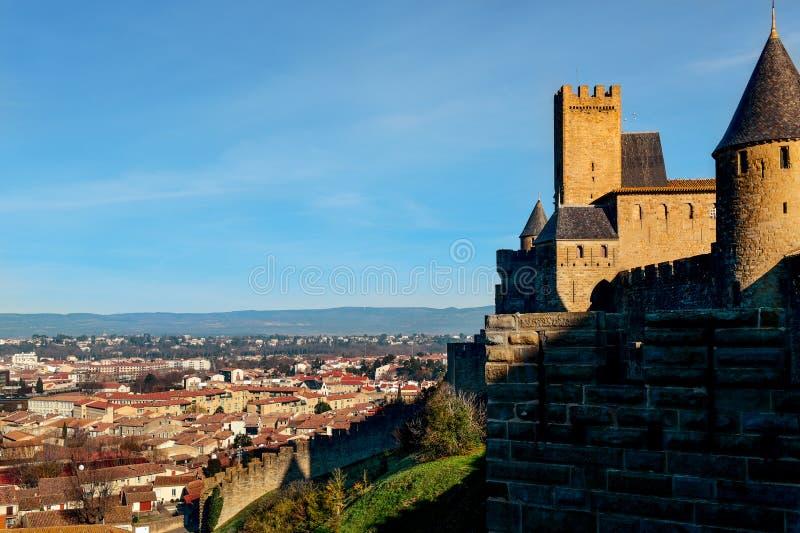 Citera de Carcassonne och Carcassone, Frankrike royaltyfria bilder