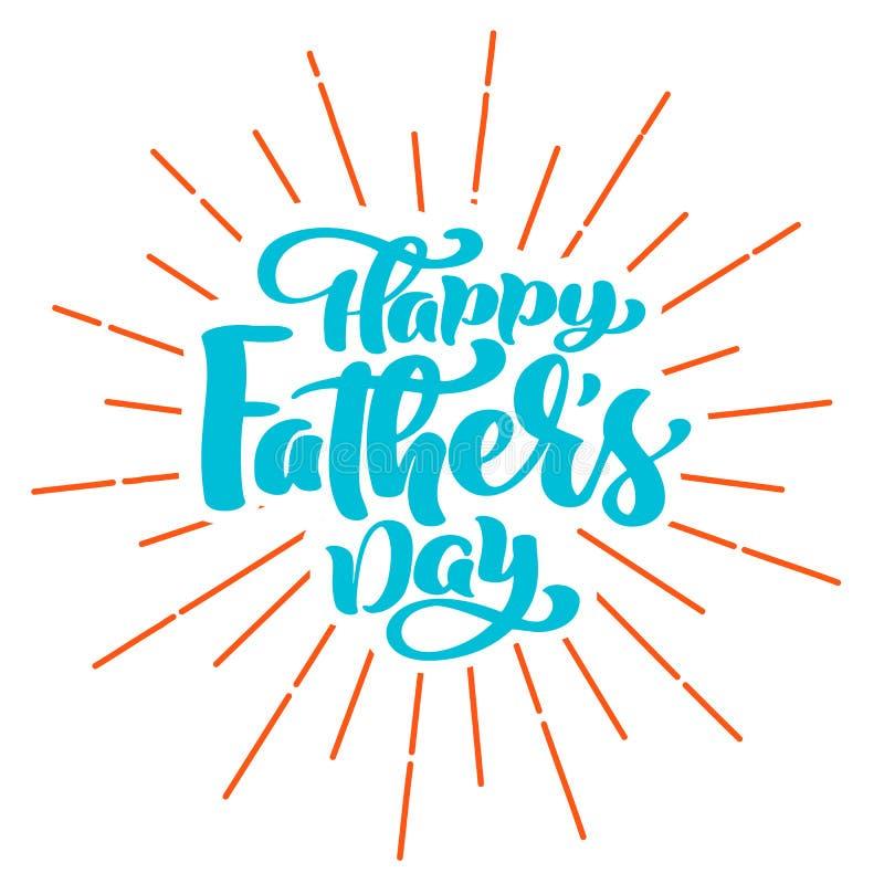 Citerar den lyckliga fader s för bokstäver för uttrycket för faderdagen handen dragen Design för vektort-skjorta eller vykorttryc vektor illustrationer