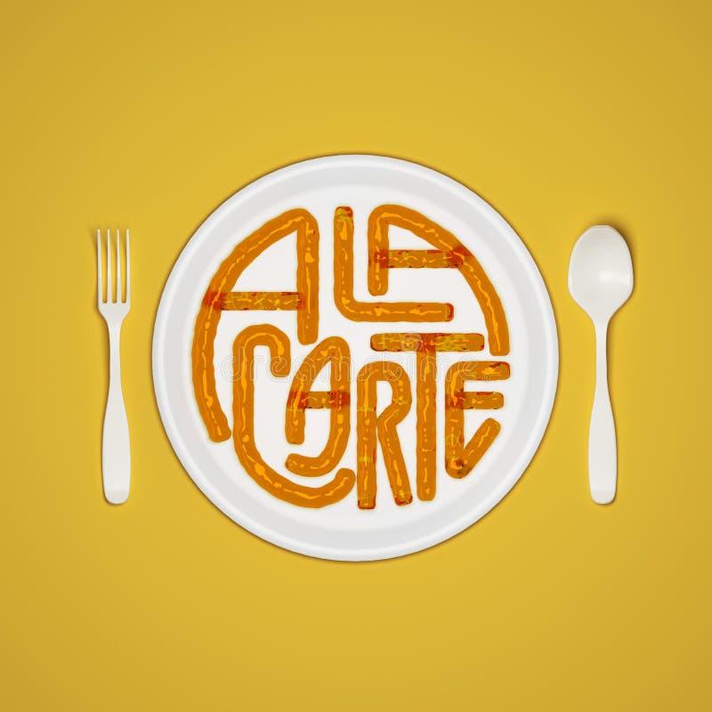 Citez à la carte le fond typographique avec la fourchette et le couteau 3D rendant l'illustration 3D illustration libre de droits