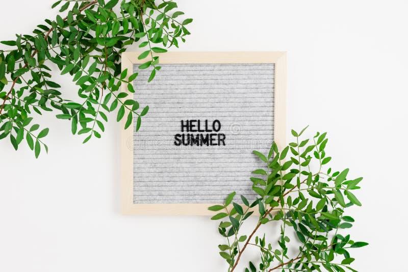 Citez - bonjour l'été Cadre de frontière fait de branches de pistaches image stock