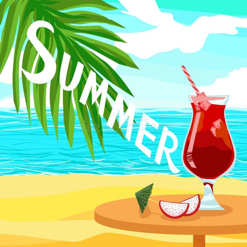 Citez l'été des textes et le jus rouge alcoolique de cocktail - affiche brillante de vecteur de la publicité illustration stock