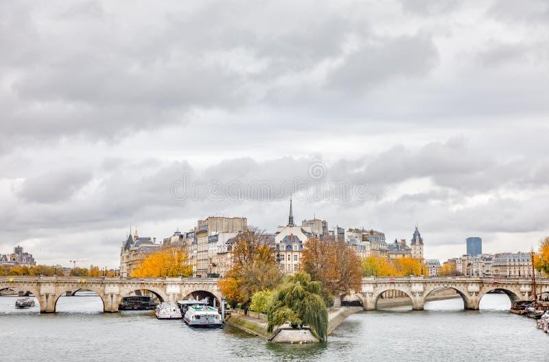 Citez l'île et le pont Neuf à Paris image stock