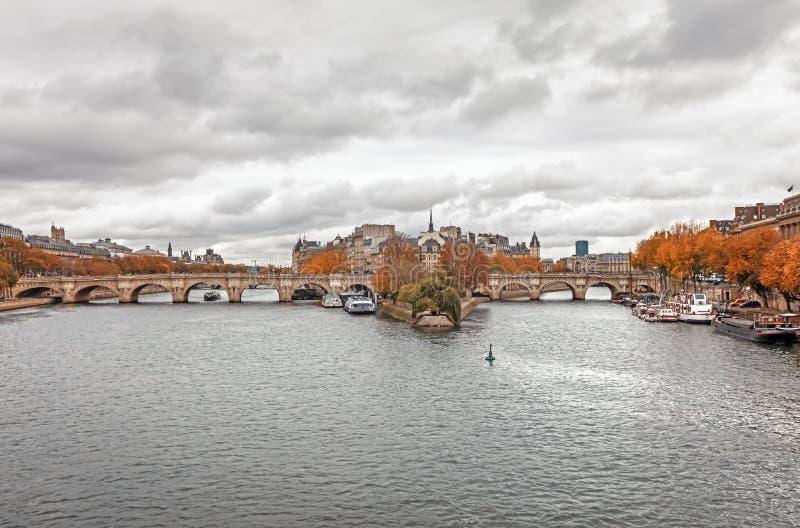 Citez l'île et le pont Neuf à Paris images stock