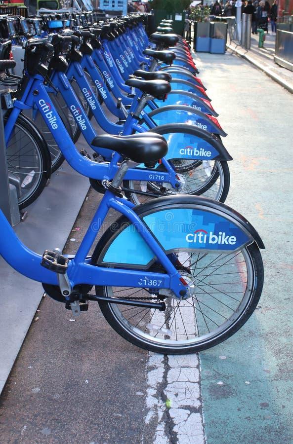 Citi Bikes in a row in New York City stock photos