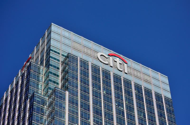 CITI Canary Wharf. CITI office building HQ in London financial district Canary Wharf stock photography