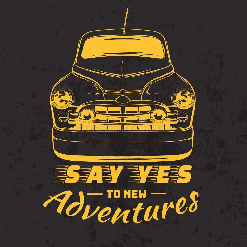 Citi il fondo tipografico con l'illustrazione dell'automobile d'annata royalty illustrazione gratis