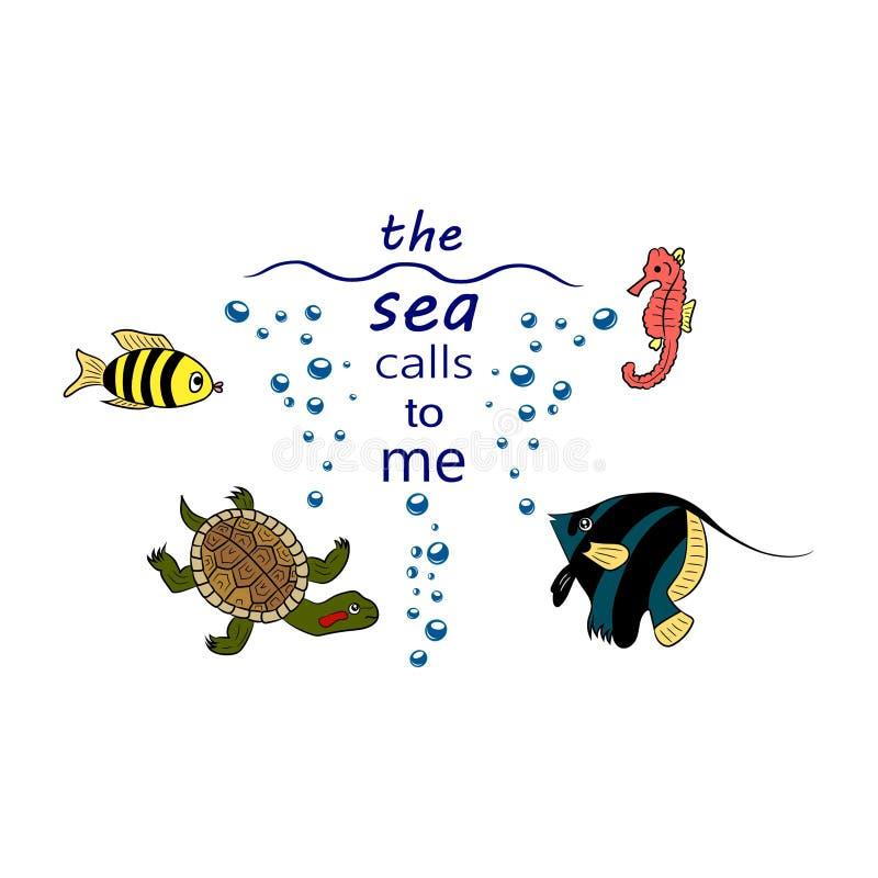 Citi le chiamate del mare me Vita marina royalty illustrazione gratis
