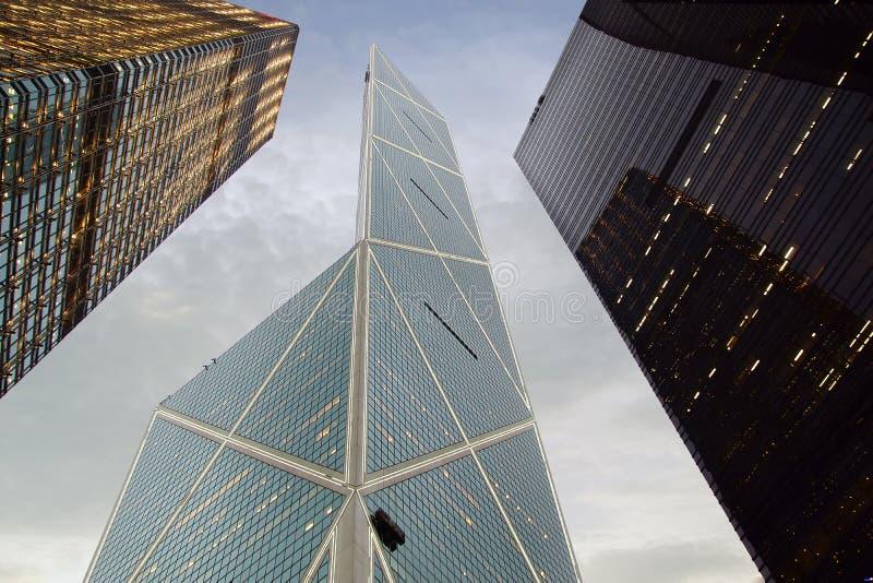 Citibank & Torens ICBC & Bank van China bij Nacht. royalty-vrije stock afbeelding