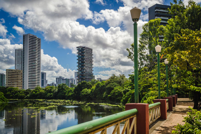 Cities of Brasil - Recife. Park and pier Jaqueira the Capibaribe River in Recife, the state capital of Pernambuco, in northeastern Brazil royalty free stock images