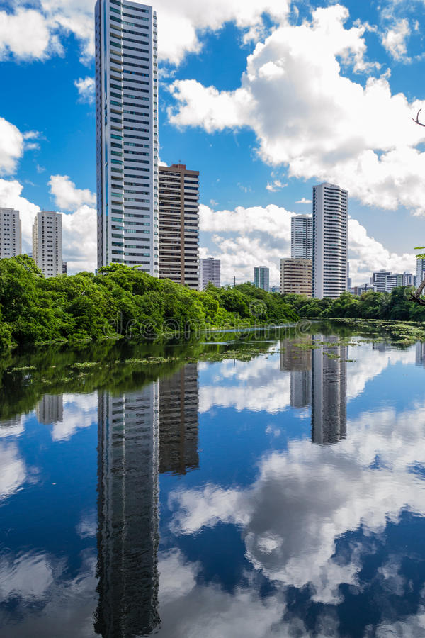 Cities of Brasil - Recife. Park and pier Jaqueira the Capibaribe River in Recife, the state capital of Pernambuco, in northeastern Brazil royalty free stock photo