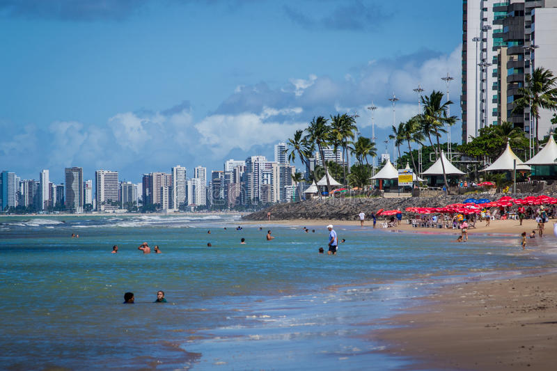 Cities of Brazil - Recife. Recife, the state capital of Pernambuco, in northeastern Brazil, has one of the longest urban beaches in the world: the Boa Viagem stock photos