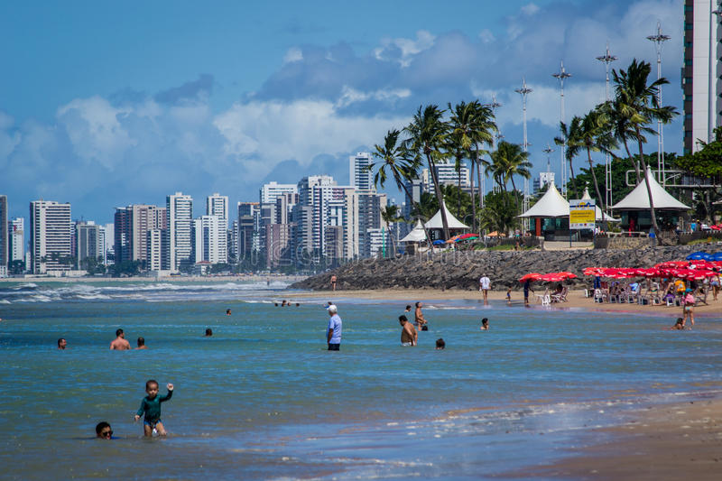 Cities of Brazil - Recife. Recife, the state capital of Pernambuco, in northeastern Brazil, has one of the longest urban beaches in the world: the Boa Viagem royalty free stock photography
