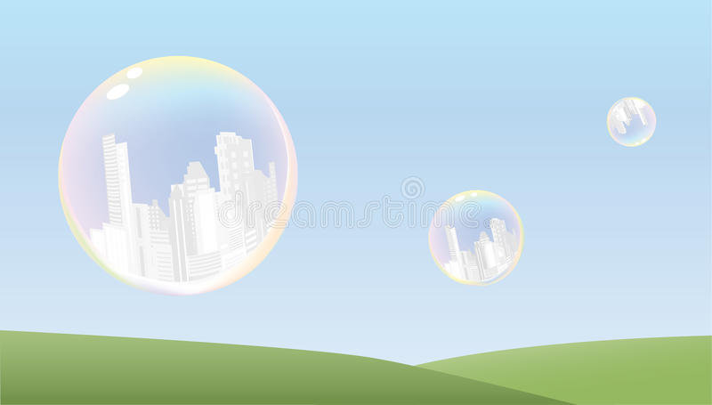 Cities in bubbles abstract background. Image symbolizing frailty of human civilization royalty free illustration