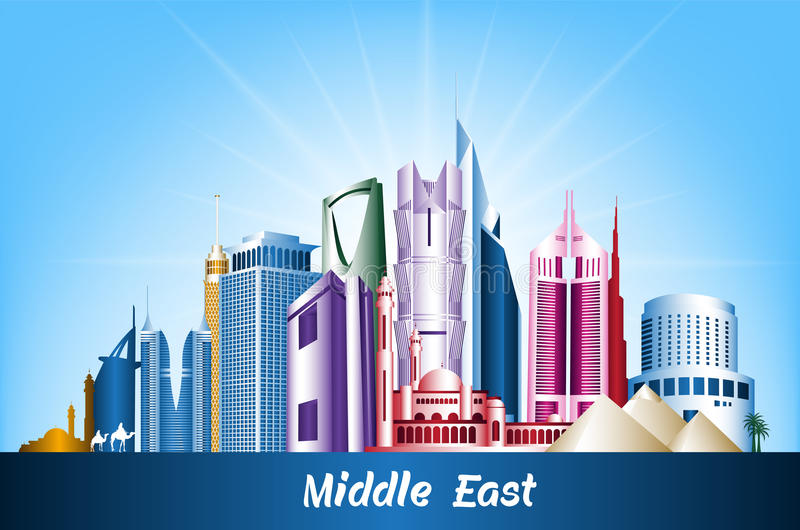 Cities and Famous Buildings in Middle East royalty free illustration