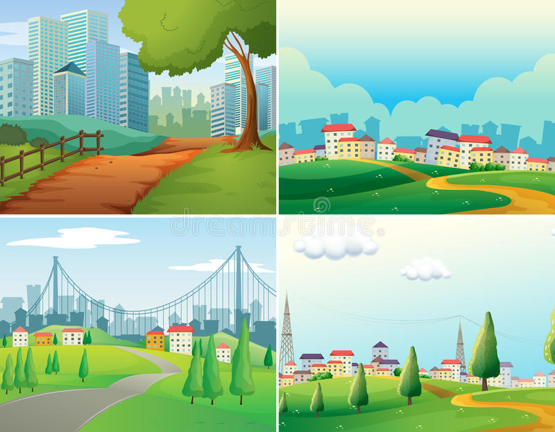 Cities and parks vector illustration