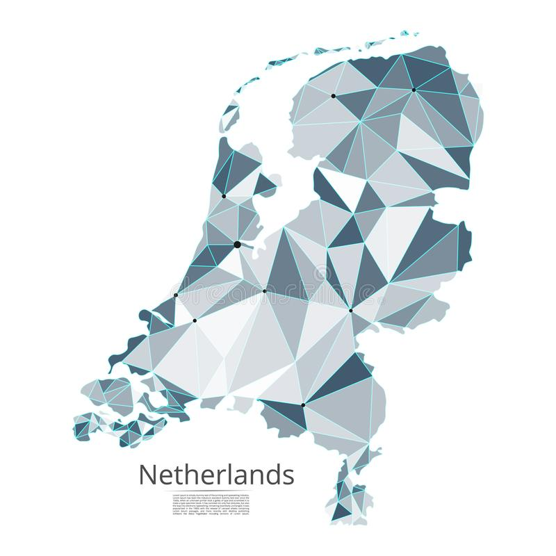 Netherlands communication network map. Vector low poly image of a global map with lights in the form. Of cities in or population density consisting of points and vector illustration