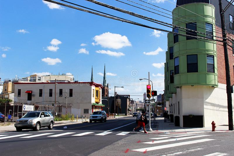 Philadelphia City, Pennsylvania United States. September 2, 2017. A green house at the crossroads in Philadelphia. Outskirts of th. Cities and streets of the USA royalty free stock images