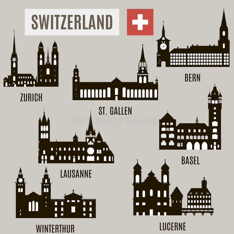 Cities in Switzerland royalty free illustration