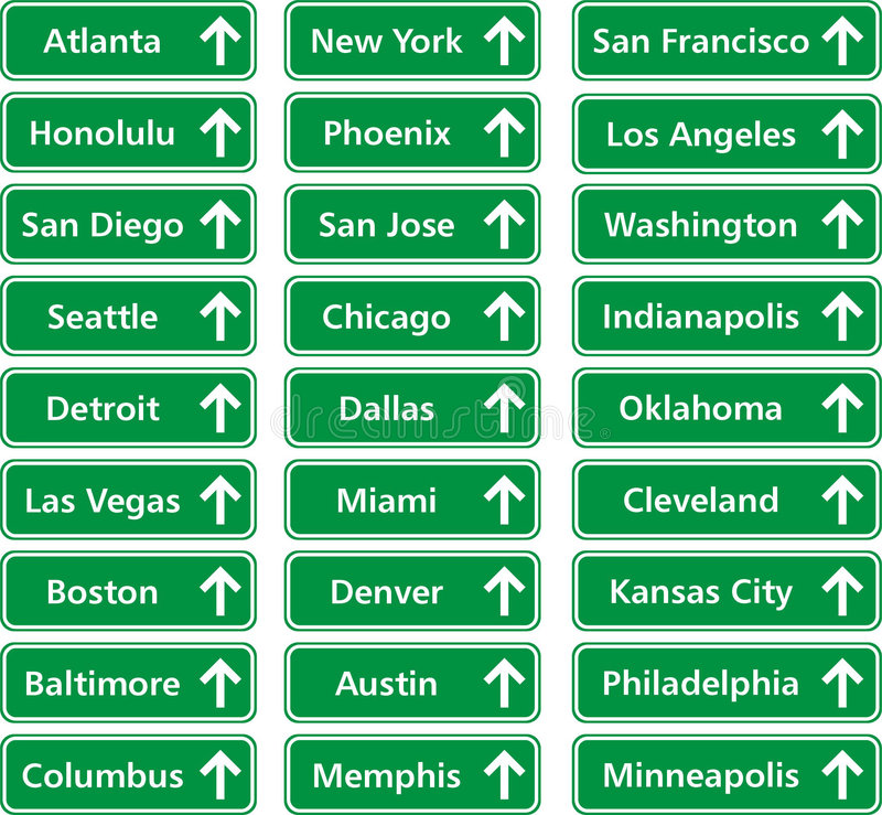 Cities usa. Traffic boards of cities in usa