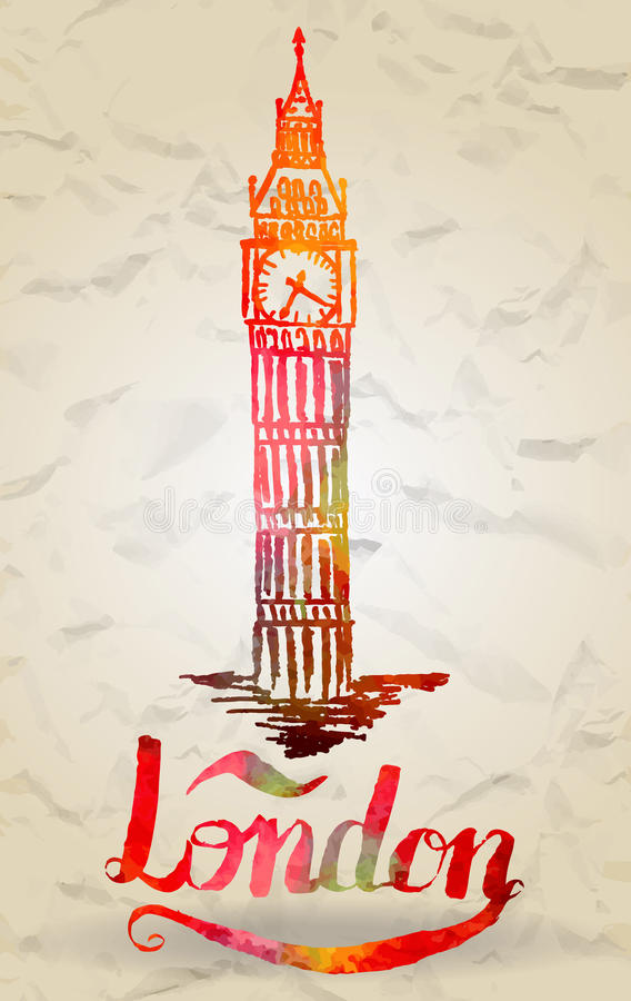 Cities. Vector illustration, london label with hand drawn big ben, lettering London with watercolor fill royalty free illustration