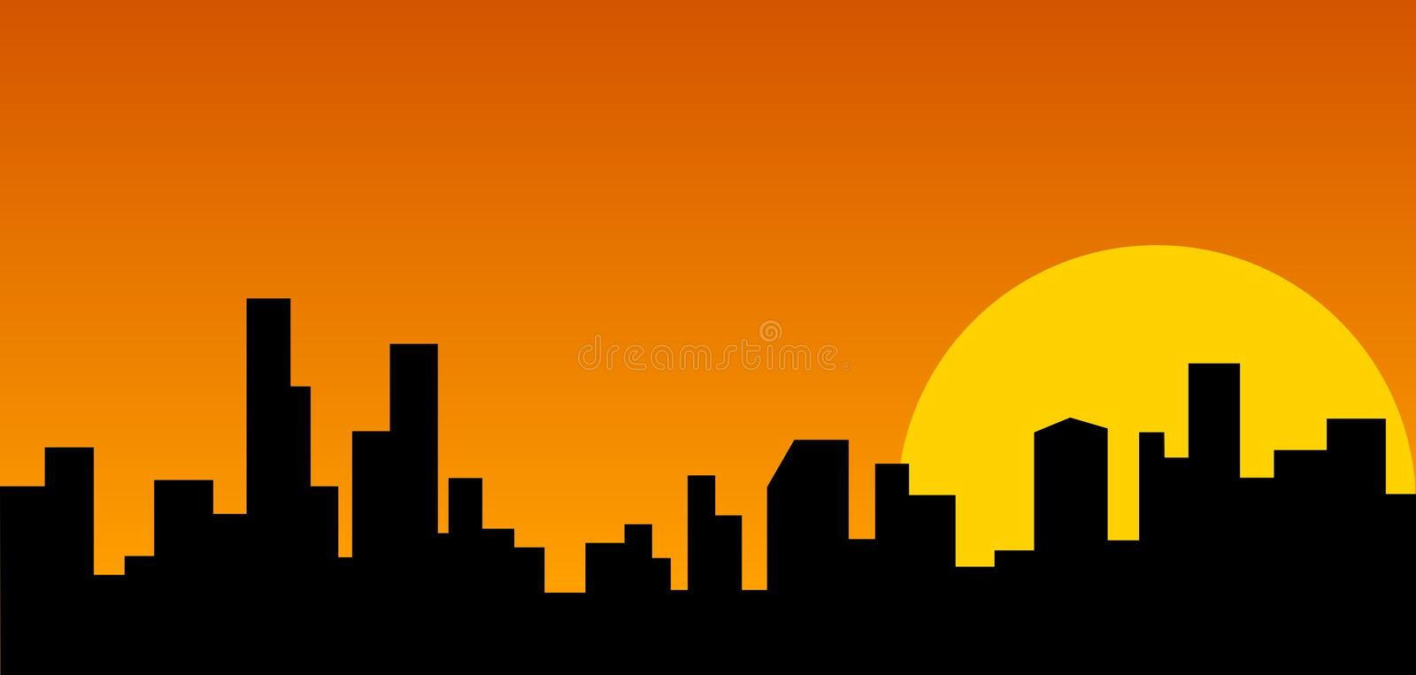 Citiscape. City landscape with moon setting in background royalty free illustration