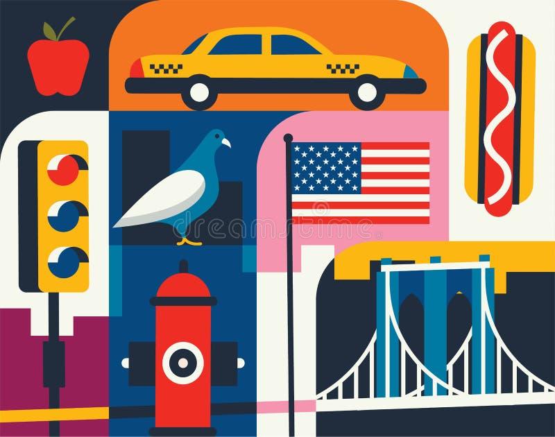 Citiy horisontuppsättning Plan landskapvektorillustration New York kontur med gränsmärken stock illustrationer
