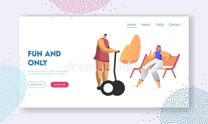 Citizen Characters Having Leisure. Young People Relaxing in Park at Summer Day, Man Riding Hoverboard, Woman Sitting on Bench. Website Landing Page, Web Page vector illustration