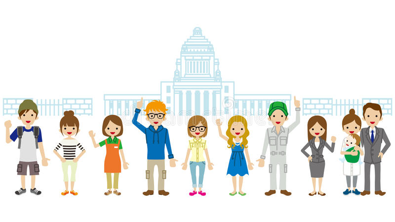 Citizen in front of the Japanese National Diet Building stock illustration