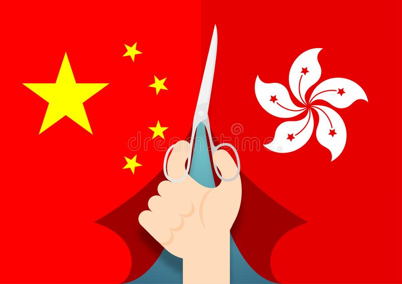 Citizen Hand with scissors cut flag of China and Hong Kong, Protest extradition legal problem concept poster and social banner. Post design illustration vector illustration