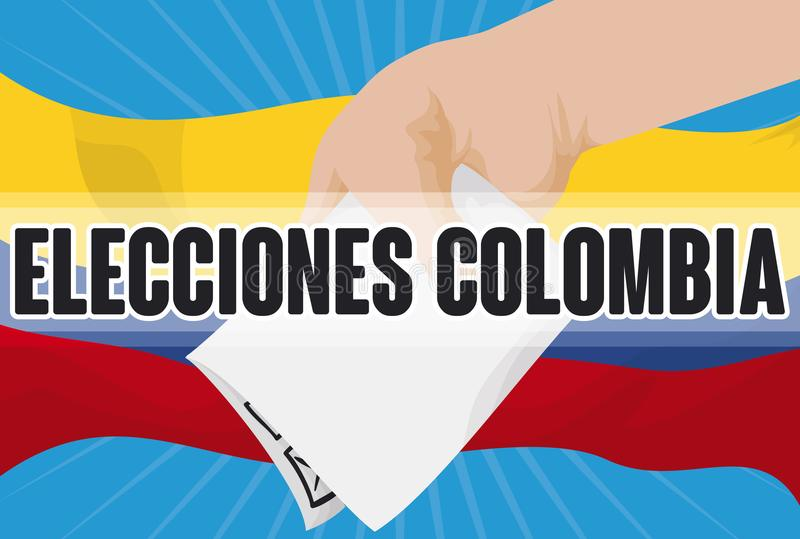 Citizen Hand Making its Vote over Flag for Colombian Elections, Vector Illustration. Citizen with vote in hand ready to suffrage over waving Colombian flag to stock illustration