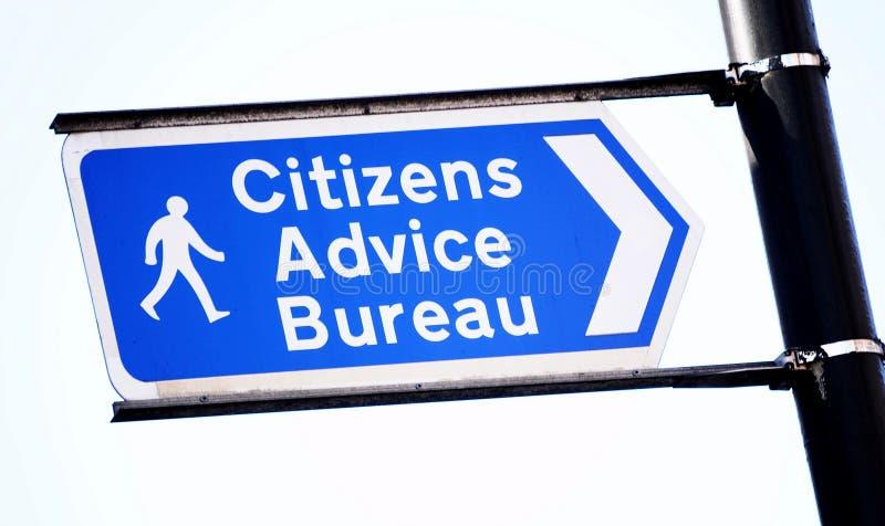 Citizens advice. Bureau blue sign isolated on white royalty free stock photo