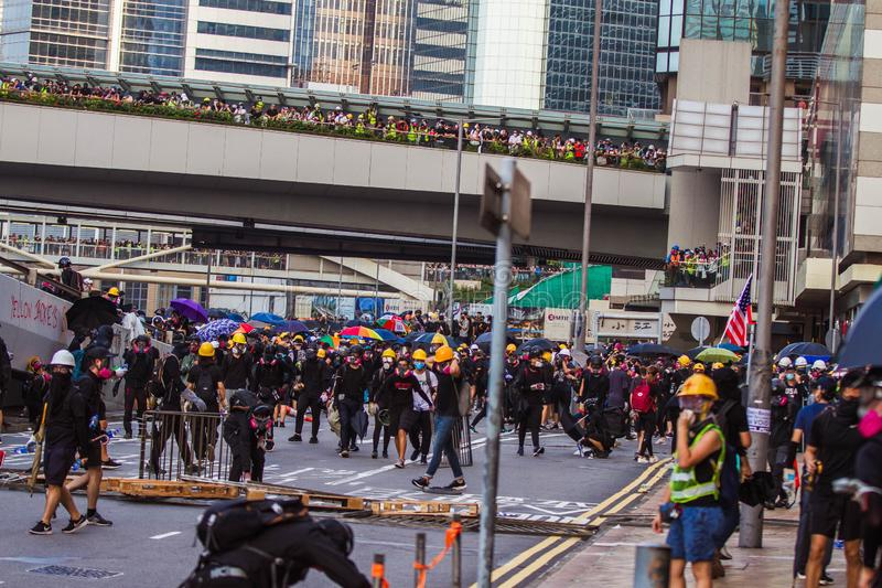 Hong Kong anti extradition bill protests stock photo