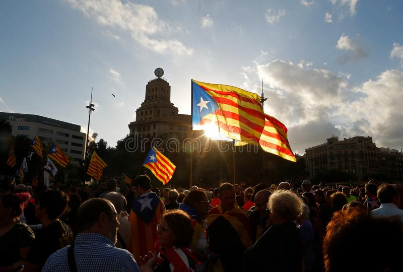 Citizens marching during a demonstration in barcelona royalty free stock image