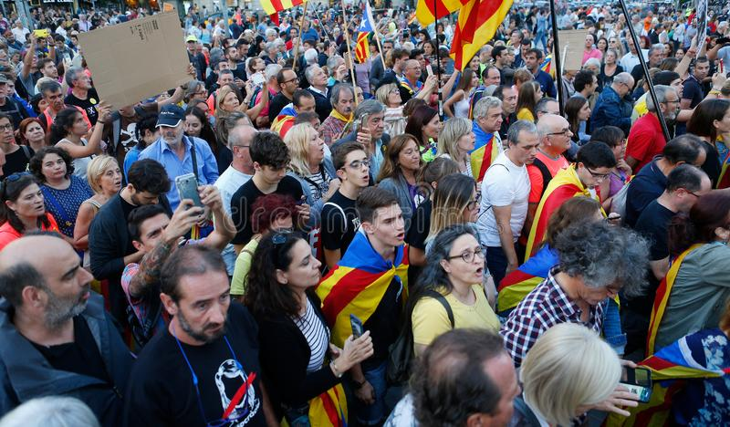 Citizens marching during a demonstration in barcelona stock photos