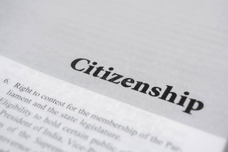 Citoyenneté imprimée sur le livre avec de grandes lettres photos libres de droits
