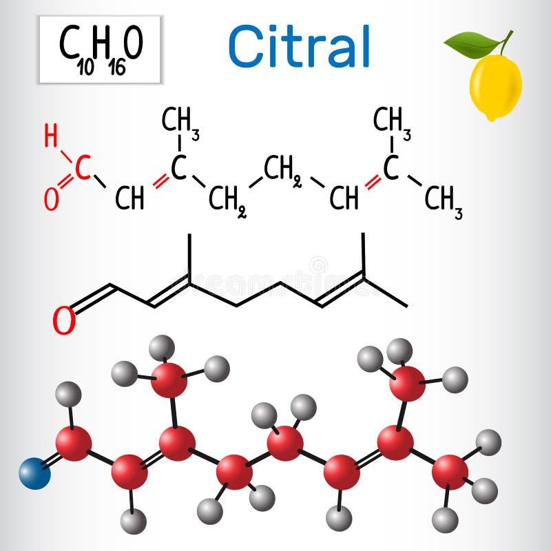 Citral lemonal Альдегиды в природе иллюстрация вектора