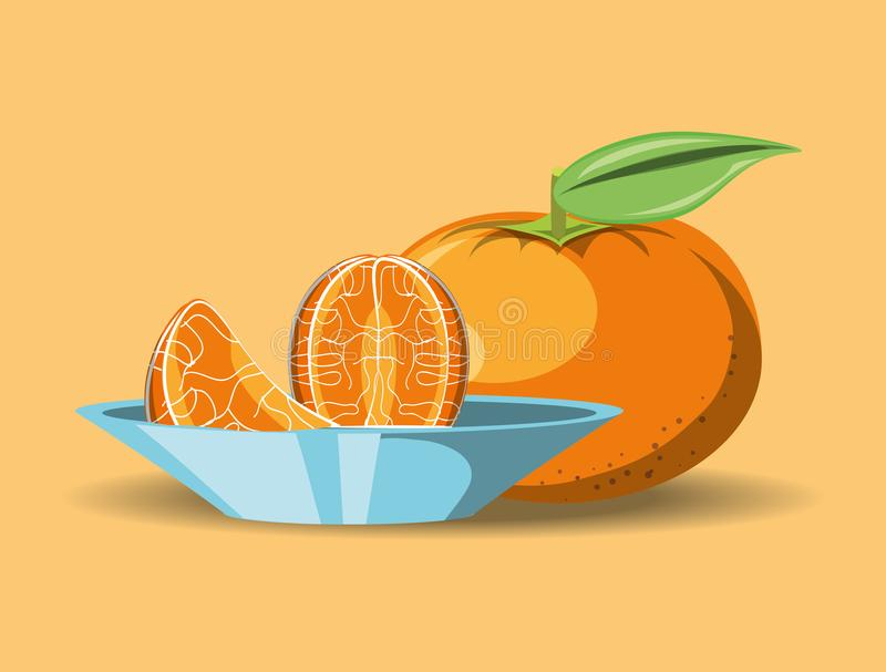 Citric fruits design. With tangerine and dish with segments icon over orange background, colorful design. vector illustration vector illustration