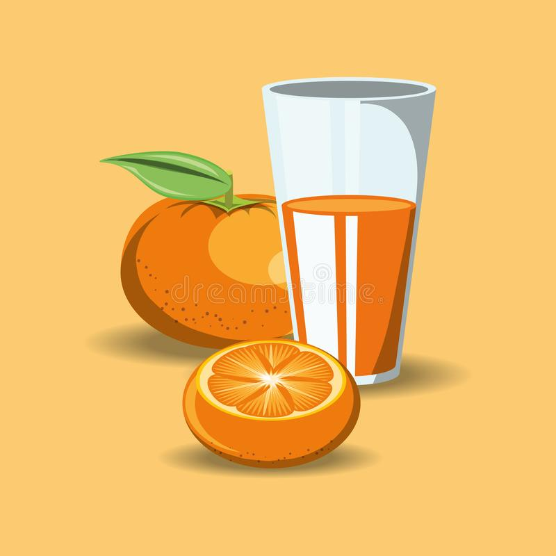 Citric fruits design. With tangerine and glass with juice icon over orange background, colorful design. vector illustration royalty free illustration