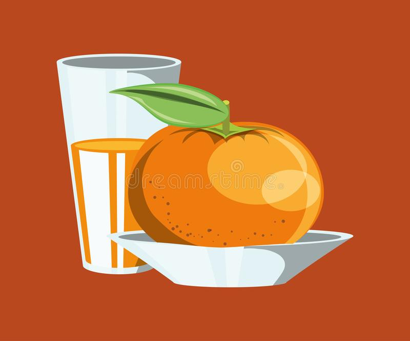 Citric fruits design. With tangerine and glass with juice icon over orange background, colorful design. vector illustration stock illustration