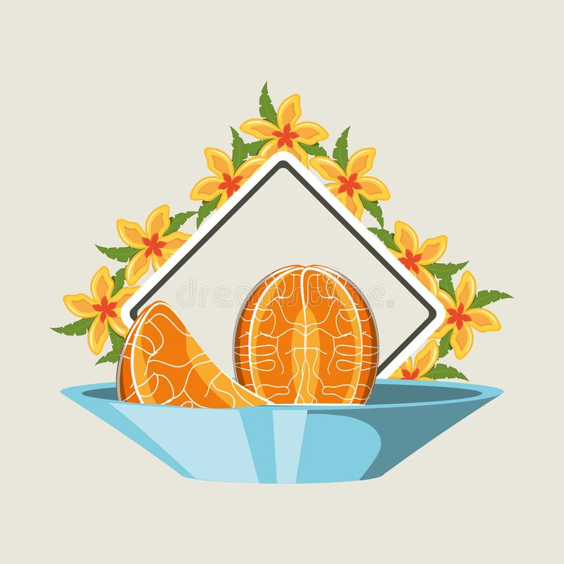 Citric fruits design. Dish with tangerine segments over decorative frame with tropical flowers over white background, colorful design. vector illustration vector illustration