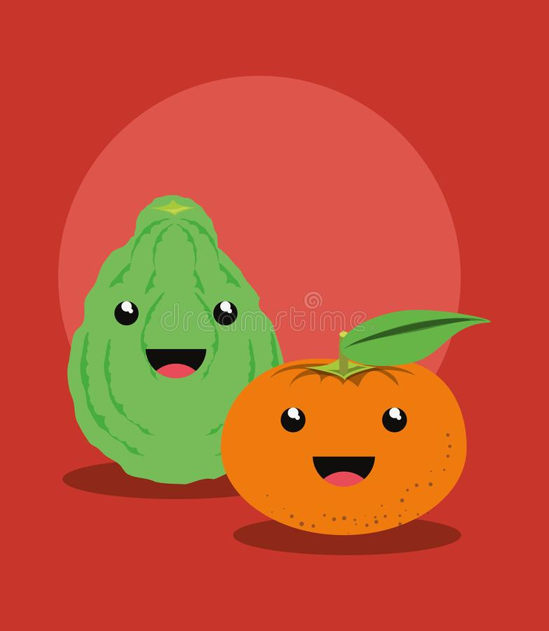 Citric fruits design. Citric fruit design with kawaii lemon and tangerine over red background, colorful design. vector illustration royalty free illustration