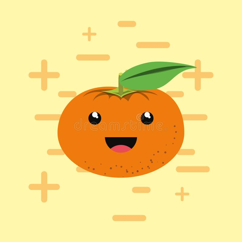 Citric fruits design. With kawaii tangerine icon over yellow background, colorful design. vector illustration royalty free illustration