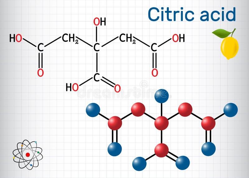 Citric kwasu molekuła, znajduje w owoc, cytrynach i wapno cytrusa, Używa jak przyłączeniowy w jedzeniu, czyści agenci, odżywczy ilustracji