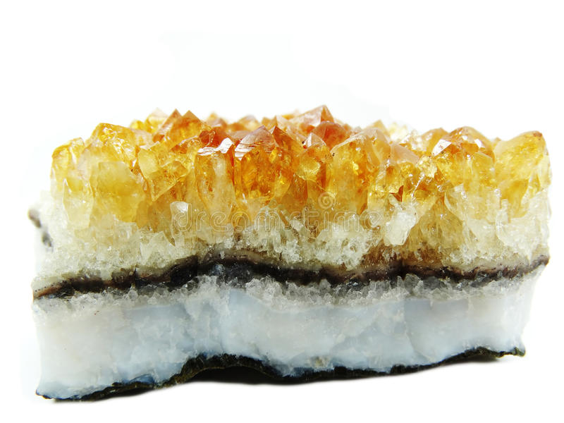 Citrine geode geological crystals. Citrine semigem geode crystals geological mineral isolated stock photo